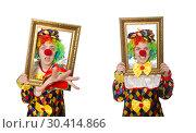 Купить «Funny clown girl with frame isolated on white», фото № 30414866, снято 13 мая 2015 г. (c) Elnur / Фотобанк Лори