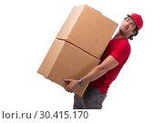 Купить «Young male courier with box», фото № 30415170, снято 9 ноября 2018 г. (c) Elnur / Фотобанк Лори