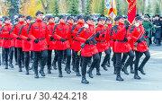 Купить «Russia Samara November, 2018: the cadet corps of Mordovia EMERCOM of Russia marching in the square. Text in Russian: Lyceum EMERCOM of Russia», фото № 30424218, снято 7 ноября 2018 г. (c) Акиньшин Владимир / Фотобанк Лори