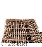 Купить «Wooden scaffolding isolated on white», фото № 30433978, снято 20 декабря 2018 г. (c) EugeneSergeev / Фотобанк Лори