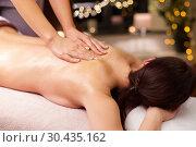 Купить «woman having back massage with gel at spa», фото № 30435162, снято 26 января 2017 г. (c) Syda Productions / Фотобанк Лори