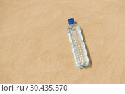 Купить «bottle of water on beach sand», фото № 30435570, снято 27 июня 2018 г. (c) Syda Productions / Фотобанк Лори