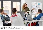 Купить «creative woman showing user interface at office», фото № 30435610, снято 1 апреля 2018 г. (c) Syda Productions / Фотобанк Лори