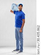 Купить «happy indian delivery man with water barrel», фото № 30435862, снято 12 января 2019 г. (c) Syda Productions / Фотобанк Лори