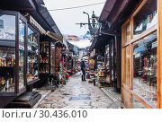 Bascarsija bazaar.  Turkish Quarter central Sarajevo city. Bosnia and Herzegovina (2018 год). Редакционное фото, фотограф Николай Коржов / Фотобанк Лори