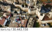Купить «Aerial view of impressive medieval Royal Palace of Olite in autumn day, Navarre, Spain», видеоролик № 30443158, снято 20 декабря 2018 г. (c) Яков Филимонов / Фотобанк Лори