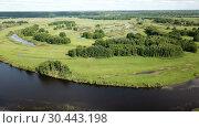 Купить «Panoramic view of gulf meadows in the floodplain of the Oka River, Russia», видеоролик № 30443198, снято 27 июня 2018 г. (c) Яков Филимонов / Фотобанк Лори