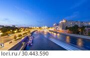 Купить «Night view of the Kremlin and Moskva River, Moscow, Russia--the most popular view of Moscow», фото № 30443590, снято 17 августа 2018 г. (c) Владимир Журавлев / Фотобанк Лори