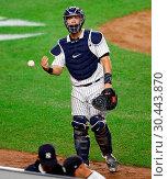 Купить «The New York Yankees take on the New York Mets during game 2 of the 2017 Subway Series at Yankee Stadium Featuring: Gary Sanchez Where: Bronx, New York...», фото № 30443870, снято 15 августа 2017 г. (c) age Fotostock / Фотобанк Лори