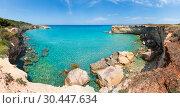 Sea beach Spiaggia della Punticeddha, Salento, Italy. Стоковое фото, фотограф Юрий Брыкайло / Фотобанк Лори
