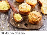 Купить «Несладкие пшенные кексы на столе», фото № 30448730, снято 30 марта 2019 г. (c) Надежда Мишкова / Фотобанк Лори