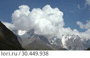 Купить «Time laps video of mount Shkhara on Greater Caucasus range. Ushguli, Svaneti, Georgia», видеоролик № 30449938, снято 2 марта 2019 г. (c) Serg Zastavkin / Фотобанк Лори