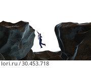 Купить «Businessman fallen to the gap in mountains», фото № 30453718, снято 5 июня 2020 г. (c) Elnur / Фотобанк Лори