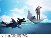 Купить «Businessmen in competition concept with shark», фото № 30453762, снято 20 апреля 2019 г. (c) Elnur / Фотобанк Лори