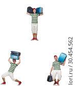 Купить «Young man with heavy suitcases isolated on white», фото № 30454562, снято 24 апреля 2019 г. (c) Elnur / Фотобанк Лори