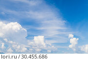 Купить «Blue sky with cumulus and cirrus clouds», фото № 30455686, снято 19 августа 2018 г. (c) EugeneSergeev / Фотобанк Лори