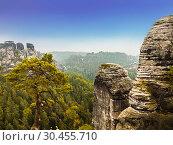 Купить «Views of the national park Saxon Switzerland of Bastei. Germany», фото № 30455710, снято 8 сентября 2014 г. (c) Наталья Волкова / Фотобанк Лори