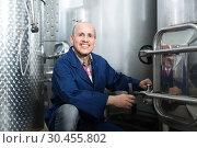 Купить «friendly mature man working in wine secondary fermentation section», фото № 30455802, снято 13 декабря 2019 г. (c) Яков Филимонов / Фотобанк Лори