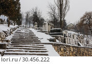 Tombstones at the old Jewish Cemetery which lies on the slopes of Trebevic mountain in Sarajevo capital of Bosnia Herzegovina (2018 год). Стоковое фото, фотограф Николай Коржов / Фотобанк Лори