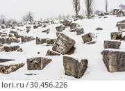 The Damaged OId Jewish Cemetery during siege of Sarajevo by Serbs. The second largest Jewish cemetery in Europe after Prague's Old Jewish Cemetery (2018 год). Редакционное фото, фотограф Николай Коржов / Фотобанк Лори