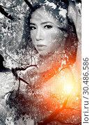Купить «Double exposure portrait of Beautiful girl combined with photogr», фото № 30486586, снято 13 мая 2013 г. (c) easy Fotostock / Фотобанк Лори