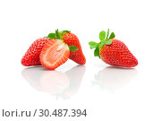 Купить «Ripe strawberry isolated  on a white background», фото № 30487394, снято 19 мая 2014 г. (c) Ласточкин Евгений / Фотобанк Лори