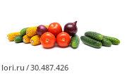 Купить «Cucumbers and other vegetables on a white background», фото № 30487426, снято 19 мая 2014 г. (c) Ласточкин Евгений / Фотобанк Лори