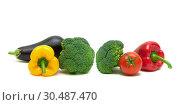 Купить «Fresh vegetables isolated on a white background», фото № 30487470, снято 19 мая 2014 г. (c) Ласточкин Евгений / Фотобанк Лори