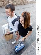Купить «Couple going the historic city center», фото № 30487798, снято 25 мая 2017 г. (c) Яков Филимонов / Фотобанк Лори