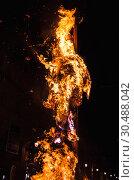 Купить «Bonfire burns in the night, close up», фото № 30488042, снято 9 февраля 2016 г. (c) EugeneSergeev / Фотобанк Лори