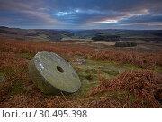 Купить «Abandoned millstone below Stanage Edge, Peak District National Park, Derbyshire, England, United Kingdom, Europe», фото № 30495398, снято 24 ноября 2016 г. (c) age Fotostock / Фотобанк Лори