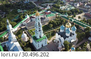 Купить «Panoramic view of unique monastery complex of Trinity Lavra of St. Sergius in sunny day, Sergiev Posad, Moscow region, Russia», видеоролик № 30496202, снято 28 июня 2018 г. (c) Яков Филимонов / Фотобанк Лори