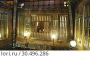 Купить «Rich interior furnishings of Guell Palace designed by Catalan architect Antoni Gaudi», видеоролик № 30496286, снято 2 сентября 2018 г. (c) Яков Филимонов / Фотобанк Лори