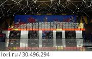 Купить «Russia 2018 FIFA World Cup banner at Sheremetyevo Airport, Moscow», видеоролик № 30496294, снято 6 июня 2018 г. (c) Данил Руденко / Фотобанк Лори