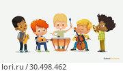 Купить «Kids Boy Orchestra Play Different Music Instrument», иллюстрация № 30498462 (c) Olga Petrakova / Фотобанк Лори