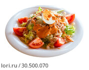 Купить «Salad Xatonada with canned tuna and salted anchovies», фото № 30500070, снято 25 июня 2019 г. (c) Яков Филимонов / Фотобанк Лори