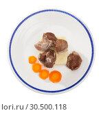Купить «Tasty steamed turkey with mashed potatoes and carrots, diet food», фото № 30500118, снято 19 апреля 2019 г. (c) Яков Филимонов / Фотобанк Лори