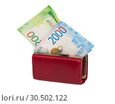Купить «Little red womens wallet with modern Russian money», фото № 30502122, снято 17 сентября 2018 г. (c) Алексей Голованов / Фотобанк Лори