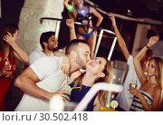 Купить «couple dancing and hugging on party», фото № 30502418, снято 28 августа 2017 г. (c) Яков Филимонов / Фотобанк Лори