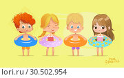 Купить «Happy Kids Birthday Time on Swimming Pool Vacation. Funny Girls and Boys in Swimsuit. Water Game with Lifebuoy Tropical Summer Vacation. Beautiful Isolated Beach. Flat Cartoon Vector Illustration.», иллюстрация № 30502954 (c) Olga Petrakova / Фотобанк Лори