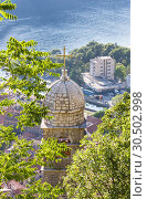 Купить «St. John and Chapel of Salvation of Virgin on Mount Pestingrad against picturesque bay. Kotor. Montenegro», фото № 30502998, снято 11 июля 2015 г. (c) Papoyan Irina / Фотобанк Лори
