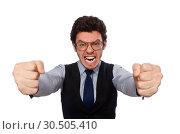 Купить «Young businessman in funny concept on white», фото № 30505410, снято 16 марта 2015 г. (c) Elnur / Фотобанк Лори