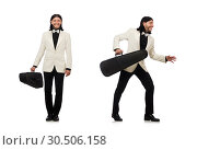 Купить «Man with violin case on whtie», фото № 30506158, снято 25 мая 2015 г. (c) Elnur / Фотобанк Лори