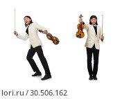 Купить «Man with violin playing on white», фото № 30506162, снято 25 мая 2015 г. (c) Elnur / Фотобанк Лори