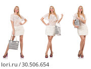 Купить «Fashionable woman isolated on white», фото № 30506654, снято 18 июня 2019 г. (c) Elnur / Фотобанк Лори