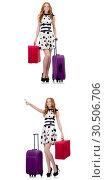 Купить «Beautiful woman in polka dot dress with suitcases isolated on wh», фото № 30506706, снято 22 апреля 2019 г. (c) Elnur / Фотобанк Лори