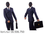 Купить «Man with mask and briefcase isolated on white», фото № 30506750, снято 17 июля 2019 г. (c) Elnur / Фотобанк Лори
