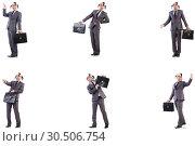 Купить «Funny clown businessman with briefcase», фото № 30506754, снято 24 апреля 2019 г. (c) Elnur / Фотобанк Лори