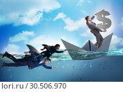 Купить «Businessmen in competition concept with shark», фото № 30506970, снято 20 апреля 2019 г. (c) Elnur / Фотобанк Лори