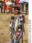 Купить «Male Native America warriors in ceremonial costumes at the Wa:k Pow Wow on the Tohono O'odham reservation in Arizona.», фото № 30512418, снято 16 марта 2019 г. (c) age Fotostock / Фотобанк Лори